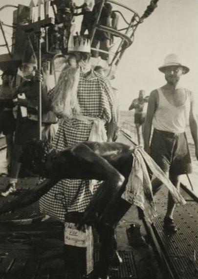 Церемония пересечение подлодкой «U-126» экватора. Июнь 1943 г.