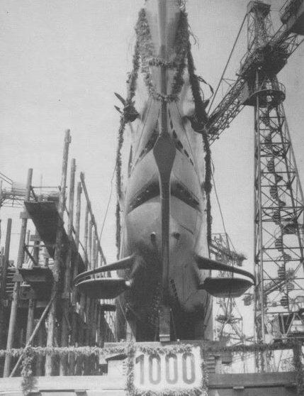 Спуск на воду «U-158» - тысячной подлодки построенной Германией. 21 июня 1941 г.