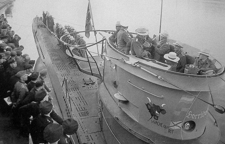 Встреча подлодки «U-69», возвращающейся с похода. Июль 1941 г.