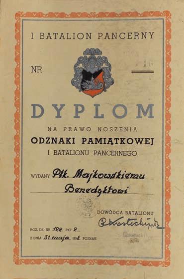 Диплом о награждении памятным знаком 1-го танкового батальона.