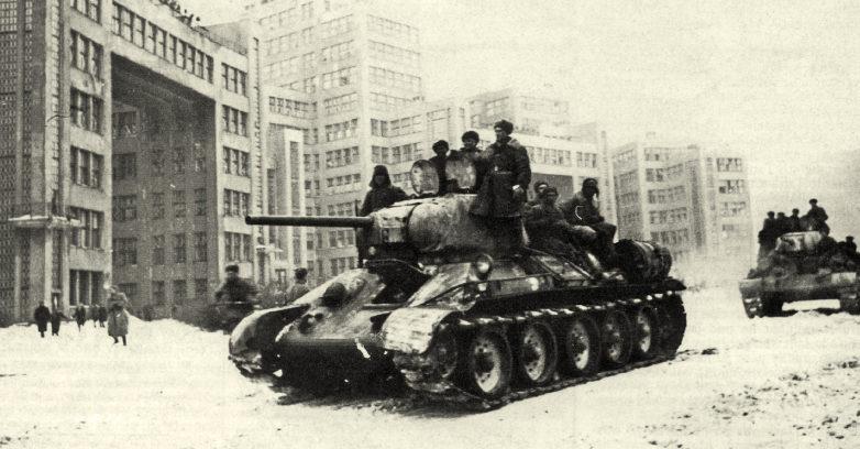 Советские танки на пл. Дзержинского. Февраль 1943 г.