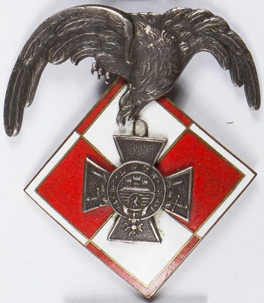 Аверс и реверс памятного знака Львовской секции оборонной авиации.