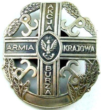 Аверс и реверс памятного знака Армии Крайовой «Акция Буря».