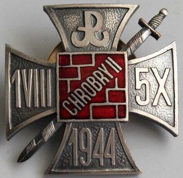Аверс и реверс наградного серебряного знака группы «Храбри 2» Армии Краевой.