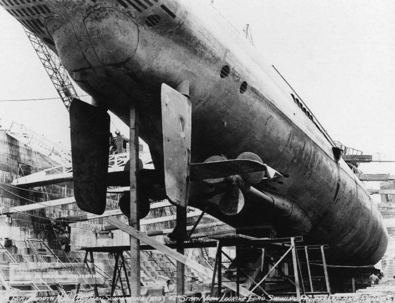 Подлодка «U-873» в сухом доке Портсмута. Июнь 1945 г.
