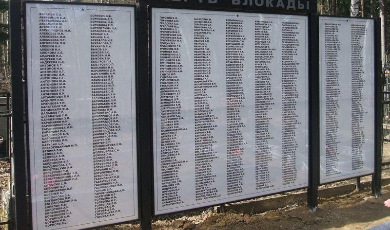 Памятная стела с именами погибших ленинградцев.