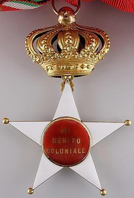Аверс и реверс знака Кавалера Большого креста Колониального ордена Звезды Италии.