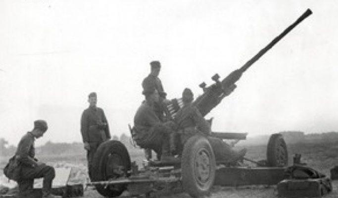 Польское зенитное орудие в окрестностях города. Сентябрь 1939 г.