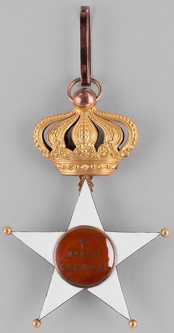 Аверс и реверс знака Командор Колониального ордена Звезды Италии.