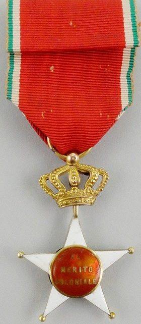 Аверс и реверс знака Офицер Колониального ордена Звезды Италии.
