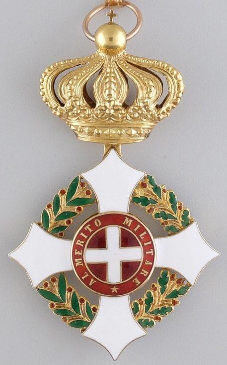 Аверс и реверс знака Большого креста Савойского военного ордена.