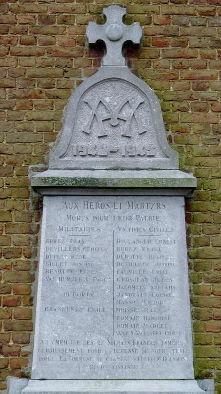 Коммуна Бланмонта. Памятные доски на фасаде церкви Сен-Мартен, погибшим в обеих мировых войнах.