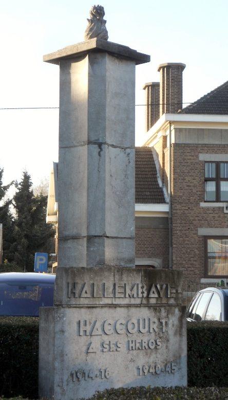 Коммуна Haccourt. Памятник в честь героев обеих войн.