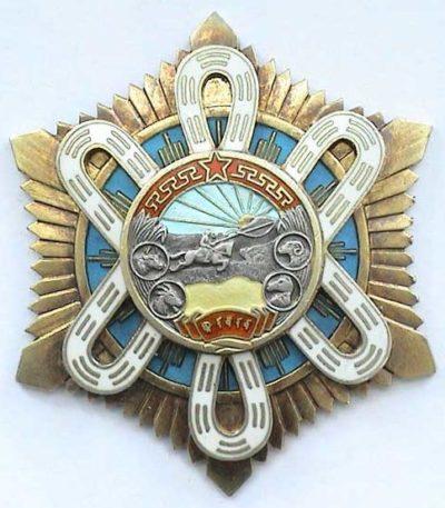 Аверс и реверс ордена «Полярной Звезды» (тип II), уйгурская надпись.