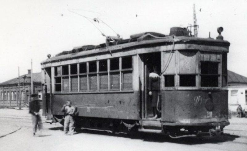 Первый восстановленный трамвай. 1944 г.