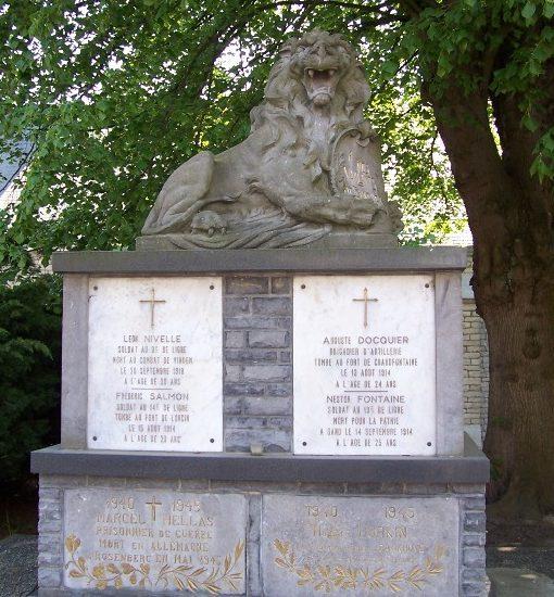 Муниципалитет Latinne. Памятник погибшим воинам и жертвам обеих войн.