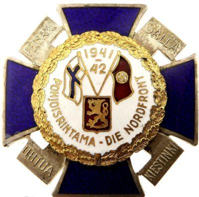 Аверс и реверс Креста Северного фронта с белой эмалью и датой «1941-42» в верхней части.