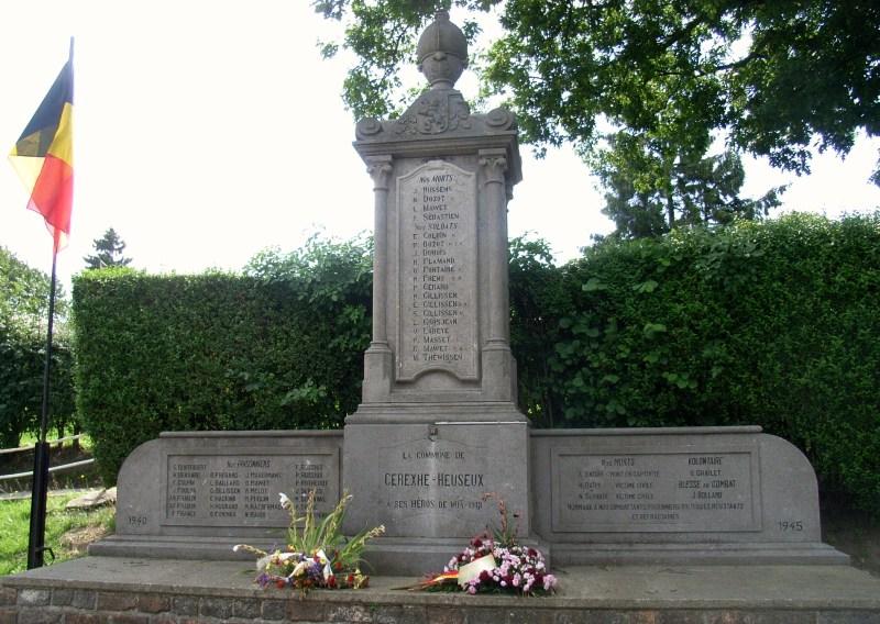 Муниципалитет Cerexhe-heuseux. Военный мемориал обеих войн.