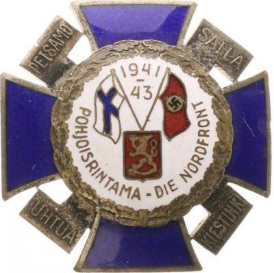 Крест Северного фронта с белой эмалью и датой «1941-43» в верхней части.