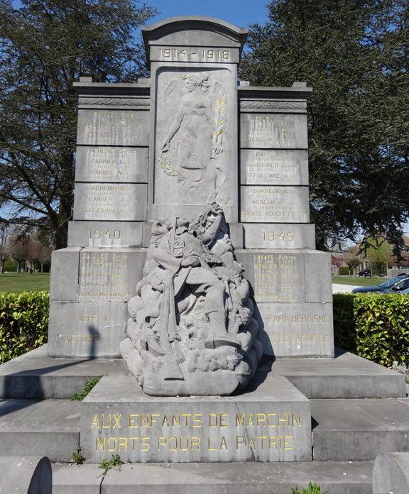 Коммуна Марчин (Marchin). Военный мемориал обеих войн. Скульптор - Жорж Хубин.