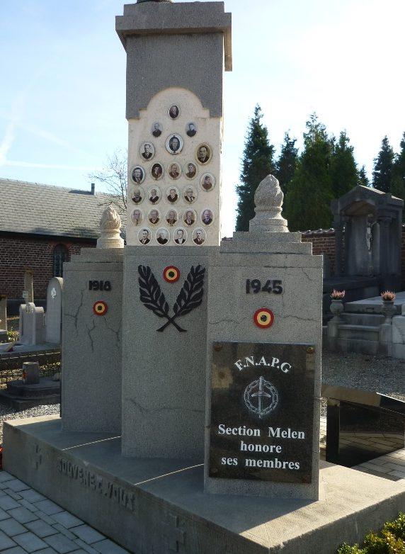 Муниципалитет Melen. Военный мемориал обеих войн на общинном кладбище.