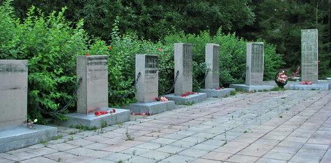 Памятные стелы на братских могилах.