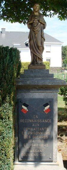 Коммуна Bercheux. Памятник погибшим воинам и жертвам обеих войн.