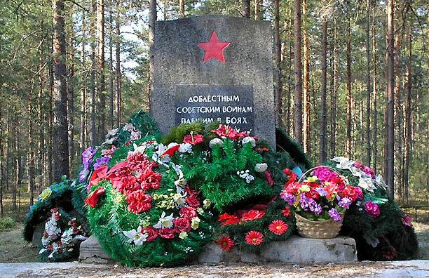 д. Сосновая Поляна. Памятник погибшим советским воинам.