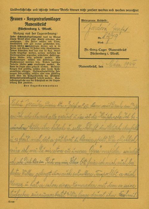 Специальный конверт для заключённых и письмо на специальном бланке, отправленные из концлагеря Равенсбрюк в 1944 году.
