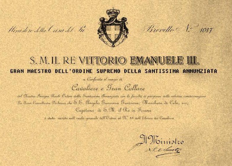 Диплом о награждении орденом Святого Благовещения (Аннунциаты).