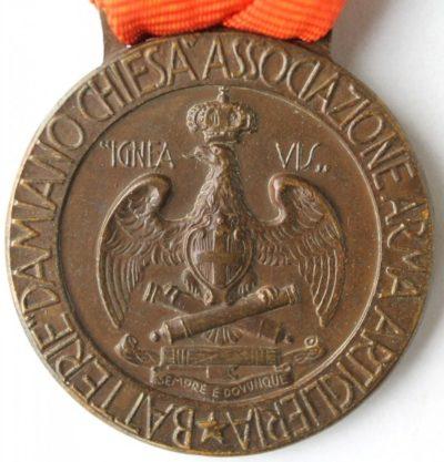 Аверс и реверс памятной медали батареи Ломбардия. Варезе. 1938 год. Медаль изготовлена из бронзы, диаметр – 30 мм.