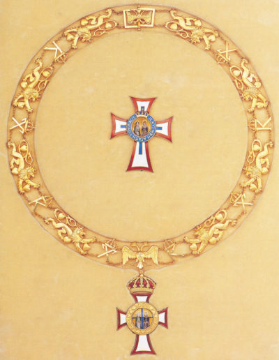 Цепь ордена Святых Георгия и Константина без мечей со звездой и знаком ордена.
