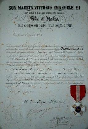Свидетельство о награждении знаком Кавалер Ордена Римского орла.
