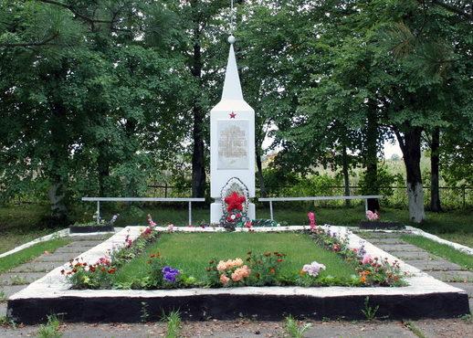 п. Дружноселье Гатчинского р-на. Памятник, установленный на братской могиле, в которой захоронено 15 советских воинов.