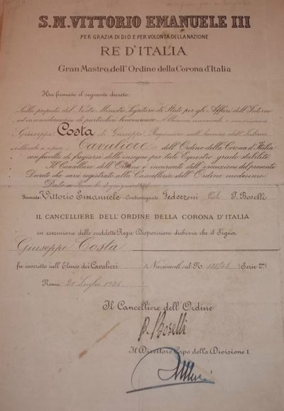 Свидетельства о награждении знаком Кавалер ордена Короны Италии.