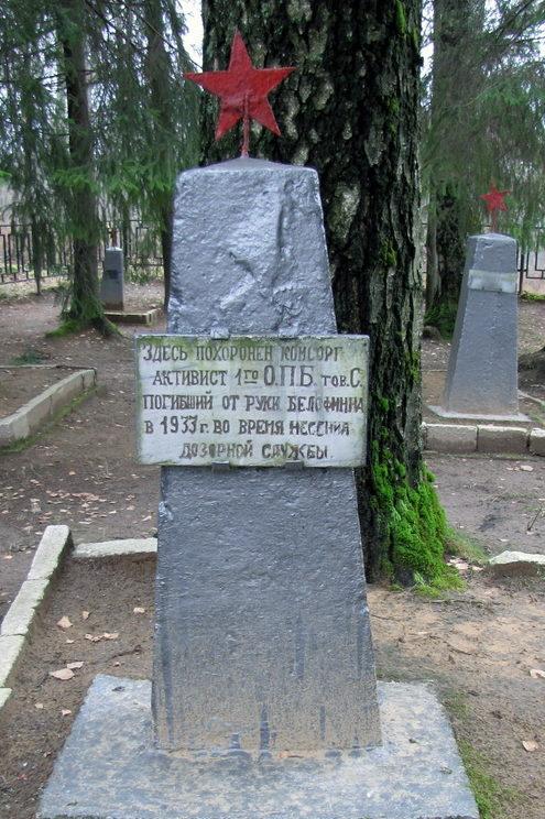д. Агалатово, Всеволожского р-на. Памятники на братских могилах, где похоронено 6-х солдат пограничников погибших от рук белофинов на боевом посту погранзаставы в 1933-1939 гг.