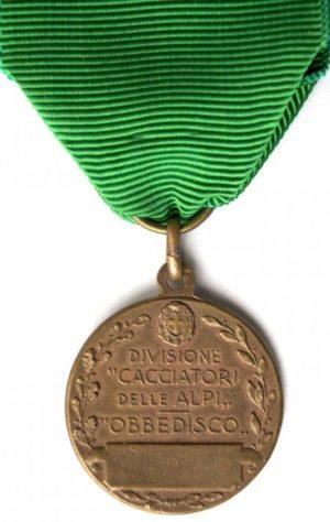 Аверс и реверс памятной медали 22-й пехотной дивизии «Cacciatori delle Alpi».