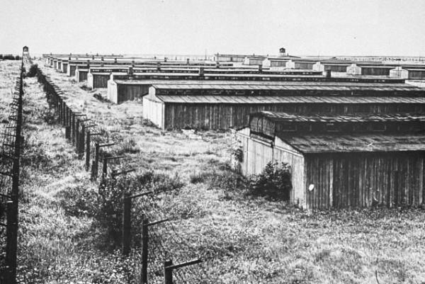 Двойной ряд колючей проволоки по периметру лагеря.