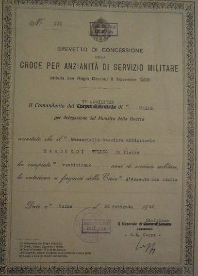 Свидетельство о награждении крестом «За 25 лет военной службы».