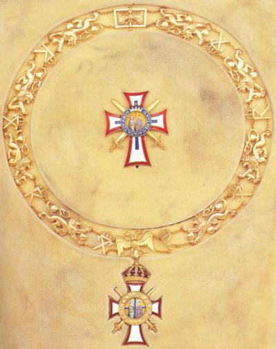 Цепь ордена Святых Георгия и Константина с мечами, звездой и знаком ордена.