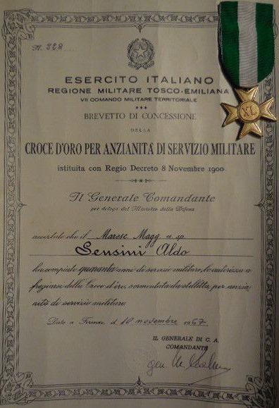 Свидетельство о награждении крестом «За 40 лет военной службы».