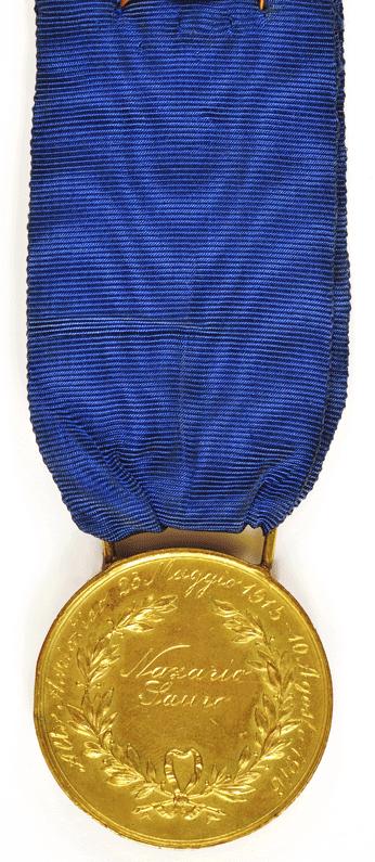 Аверс и реверс золотой медали «За воинскую доблесть» (Medaglia d'oro al valor militare). Королевство.