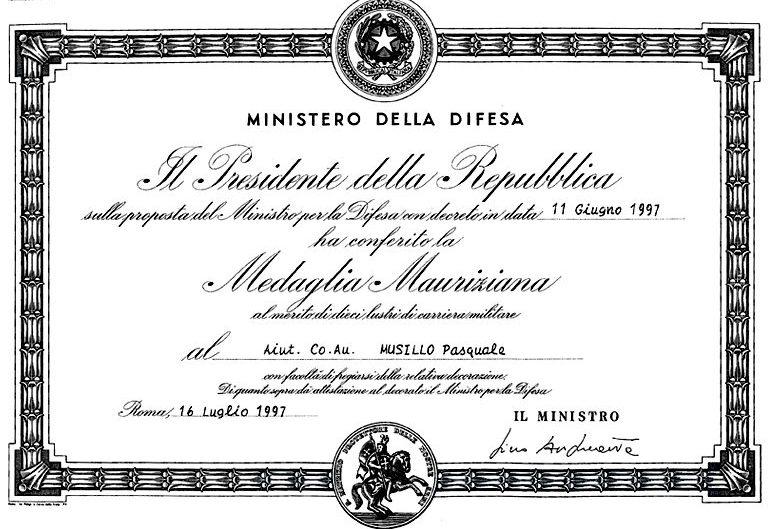 Свидетельство о награждении Маврикианской медалью заслуг.