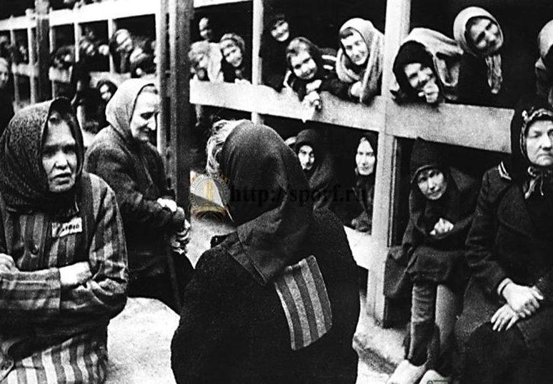 Заключенные в бараках.