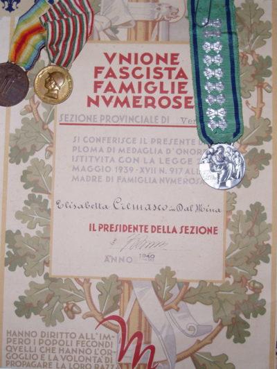 Свидетельство о награждении памятной медалью заслуг многодетных матерей.