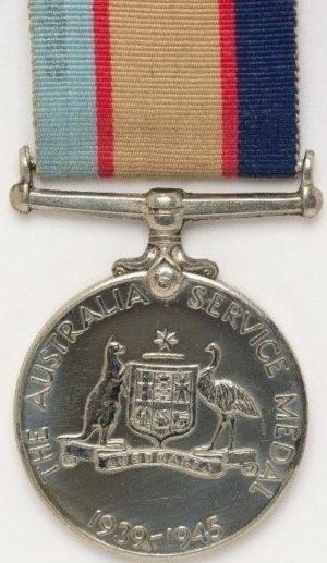 Аверс и реверс медали Австралийской службы 1939-1945.