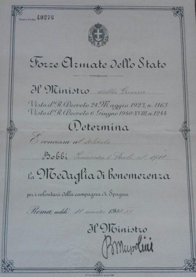 Свидетельство о награждении памятной медалью Испанской компании.