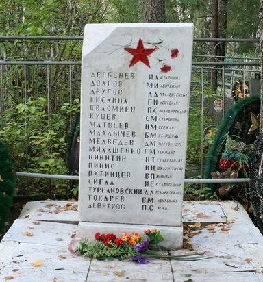 п. Ефимовский Бокситогорского р-на. Памятник на кладбище, установлен на братской могиле, в которой похоронено 17 советских воинов.