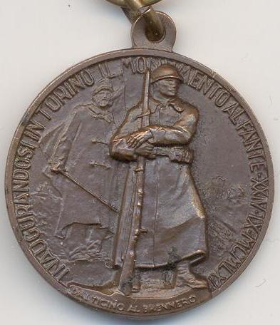 Аверс и реверс памятной медали союза фронтовиков Италии всех войн.