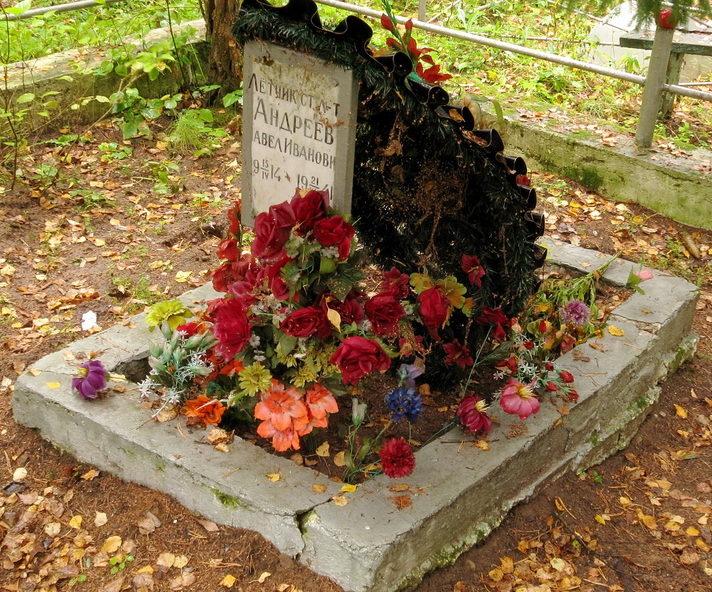 Памятник на могиле летчика П. И. Андреева.